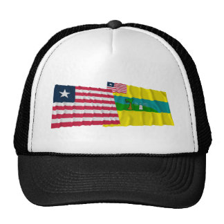 Liberia and Maryland County Waving Flags Trucker Hat