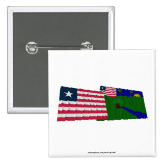 Liberia and River Gee County Waving Flags 15 Cm Square Badge