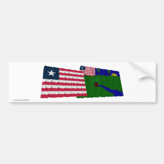 Liberia and River Gee County Waving Flags Bumper Sticker