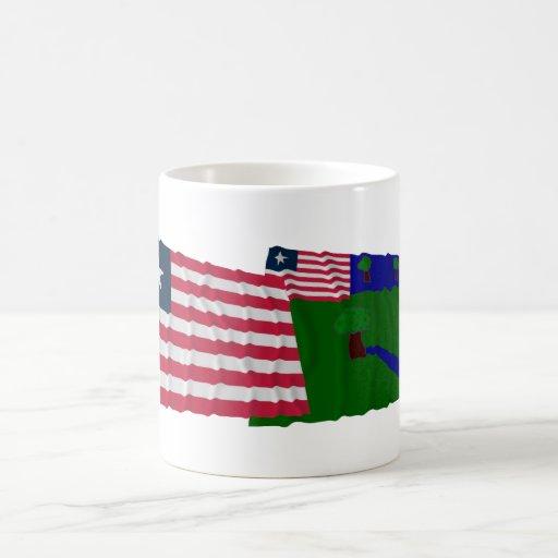 Liberia and River Gee County Waving Flags Mug