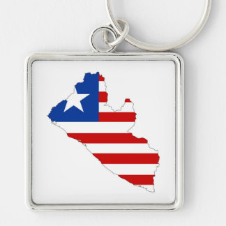 liberia country flag map shape symbol Silver-Colored square key ring