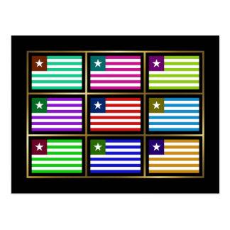 Liberia Multihue Flags Postcard