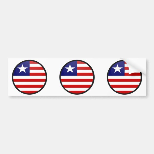 Liberia quality Flag Circle Bumper Sticker