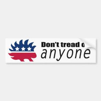 Libertarian Hedgehog Don't Tread on Anyone Bumper Sticker