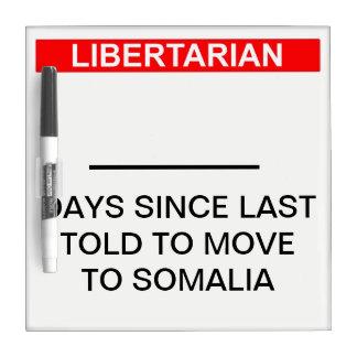 Libertarian Somalia Day Counter Dry Erase Board