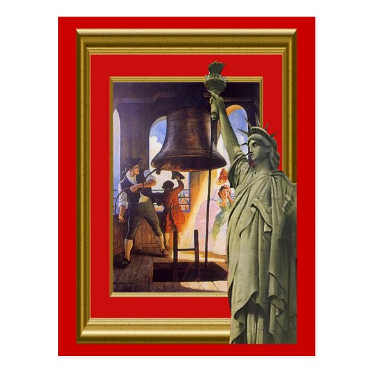 Liberty bell and statue postcard