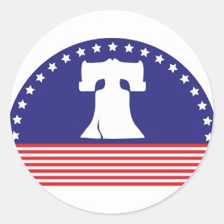 liberty bell flag round sticker