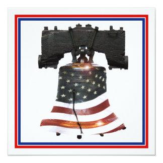 "Liberty Bell w/American Flag 5.25"" Square Invitation Card"