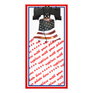 Liberty Bell w/American Flag Customized Photo Card