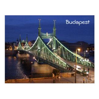 Liberty Bridge by night - Budapest Postcard