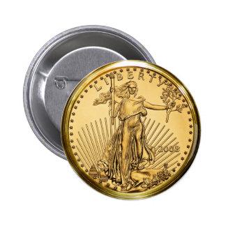 Liberty Gold Bullion Coin 6 Cm Round Badge