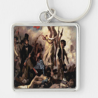 'Liberty Leading the People'' Silver-Colored Square Key Ring