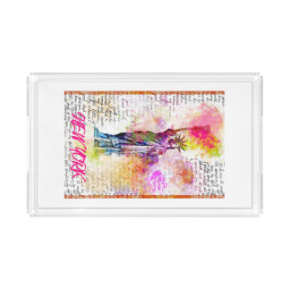 Liberty New York. Rainbow Color illustration Acrylic Tray