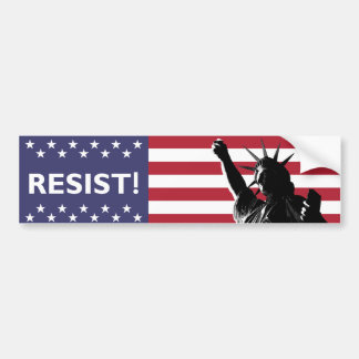 Liberty Resists in Shadow Flag Backdrop Bumper Sticker