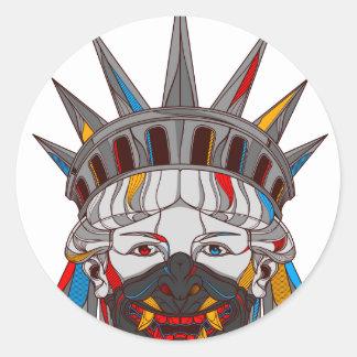 Liberty Samurai Round Sticker