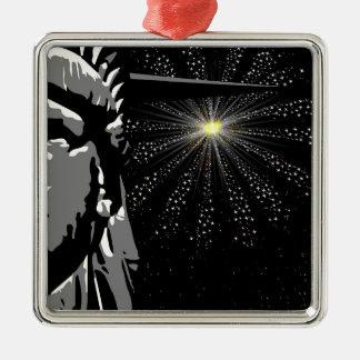 Liberty Silver-Colored Square Decoration