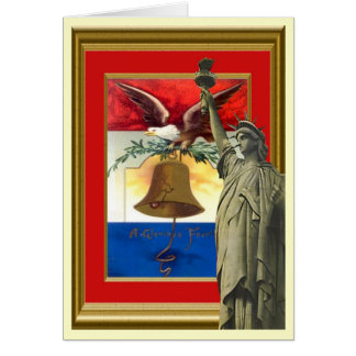 Liberty statue and Liberty bell Card