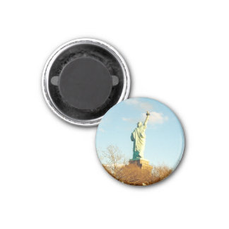 liberty statue lady 3 cm round magnet
