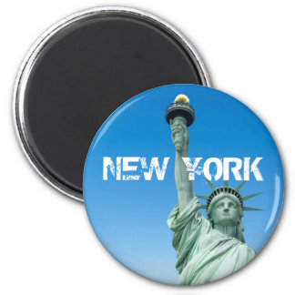 LIBERTY STATUE, NEW YORK 6 CM ROUND MAGNET