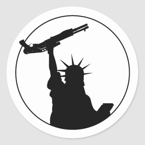 Liberty with Shotgun Round Sticker