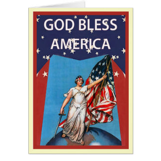 Liberty with  the stars and stripes card