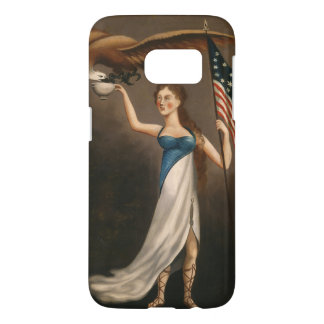 Liberty Woman Eagle American Flag USA
