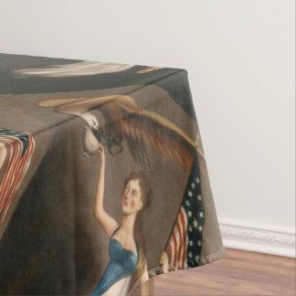 Liberty Woman Eagle American Flag USA Oil Painting Tablecloth