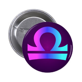 Libra Astrology Sign Pink Blue Aqua Purple 6 Cm Round Badge