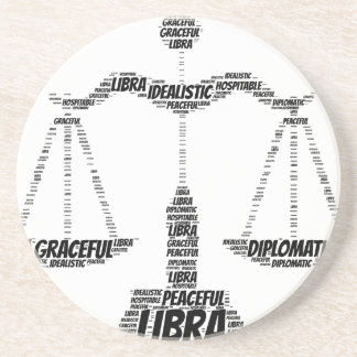 Libra Astrology Zodiac Sign Word Cloud Drink Coaster