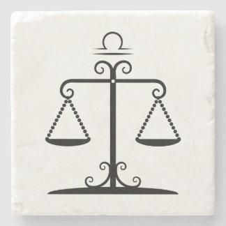 libra balanced scales astrology zodiac stone beverage coaster