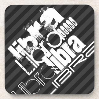 Libra; Black & Dark Gray Stripes Drink Coaster