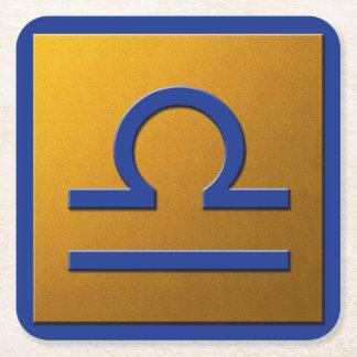 Libra - Blue and Gold Square Paper Coaster