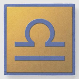 Libra - Blue and Gold Stone Beverage Coaster