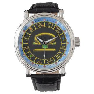 LIBRA GOLD ZODIAC BIRTHDAY JEWEL, Astrology Chart Wrist Watch