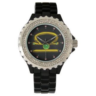 LIBRA GOLD ZODIAC BIRTHDAY JEWEL,Green ,Black Watch