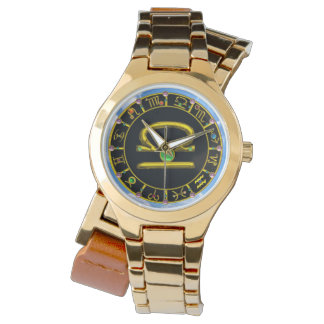 LIBRA GOLD ZODIAC BIRTHDAY JEWEL,Green ,Black Watches