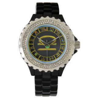 LIBRA GOLD ZODIAC BIRTHDAY JEWEL,Green ,Black Wrist Watches