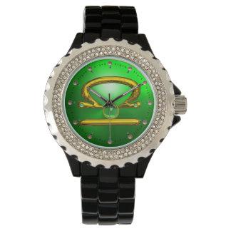 LIBRA GOLD ZODIAC BIRTHDAY JEWEL,Green Emerald Wrist Watches