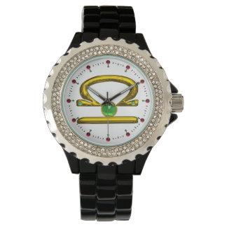 LIBRA GOLD ZODIAC BIRTHDAY JEWEL,Green ,White Wristwatches