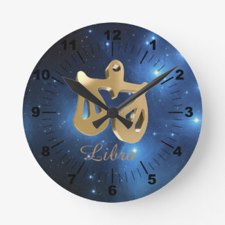 Libra golden sign round clock