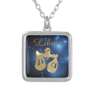 Libra golden sign silver plated necklace