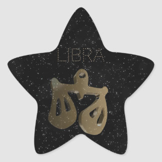 Libra golden sign star sticker