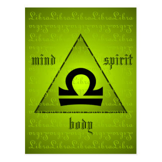 Libra Holistic Triangle Mind Body Spirit Green Postcard