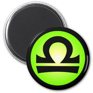 Libra Horoscope Sign Sunny Green 6 Cm Round Magnet