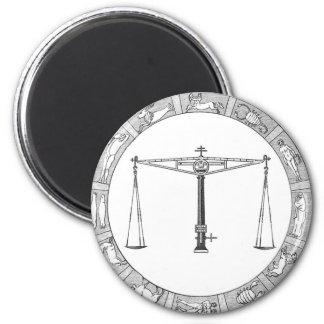 LIbra in a Zodiac Ring 6 Cm Round Magnet