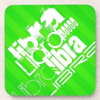 Libra; Neon Green Stripes Drink Coasters