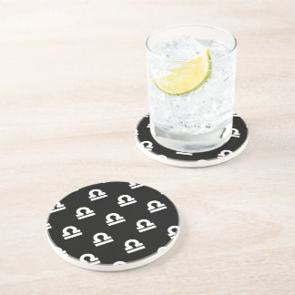 Libra Pattern Black and White Beverage Coasters