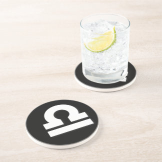 Libra Pattern Black and White Beverage Coaster
