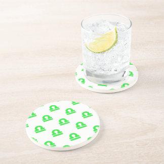 Libra Pattern Green Beverage Coaster