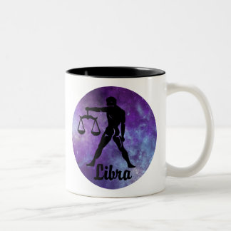 Libra Scales on Space Background Two-Tone Coffee Mug